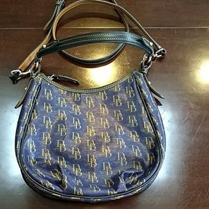Navy Blue Dooney & Bourke Coated Canvas Handbag